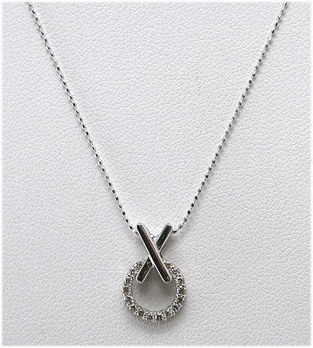 K18WGダイヤペンダントネックレス